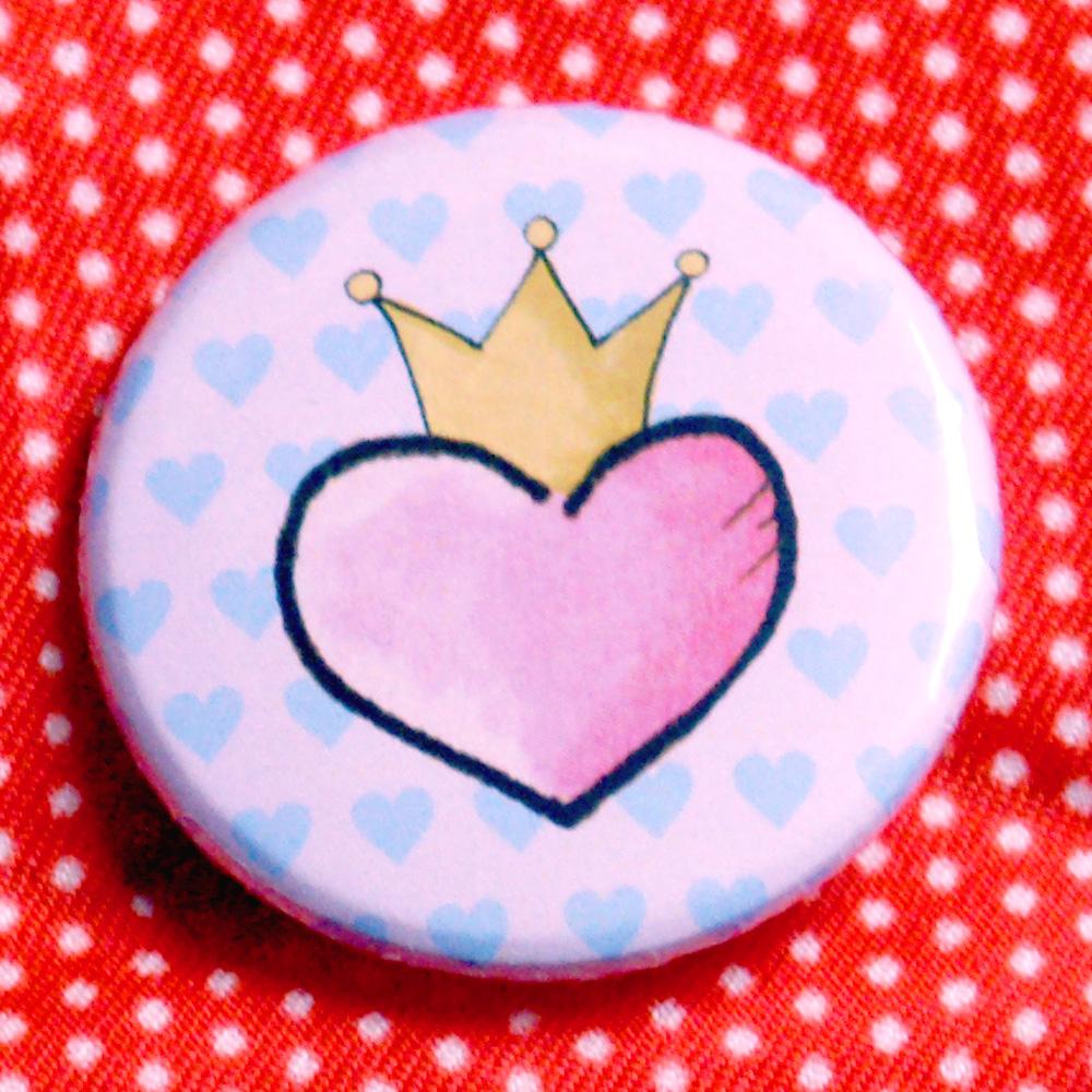 Button Herz mit Krone
