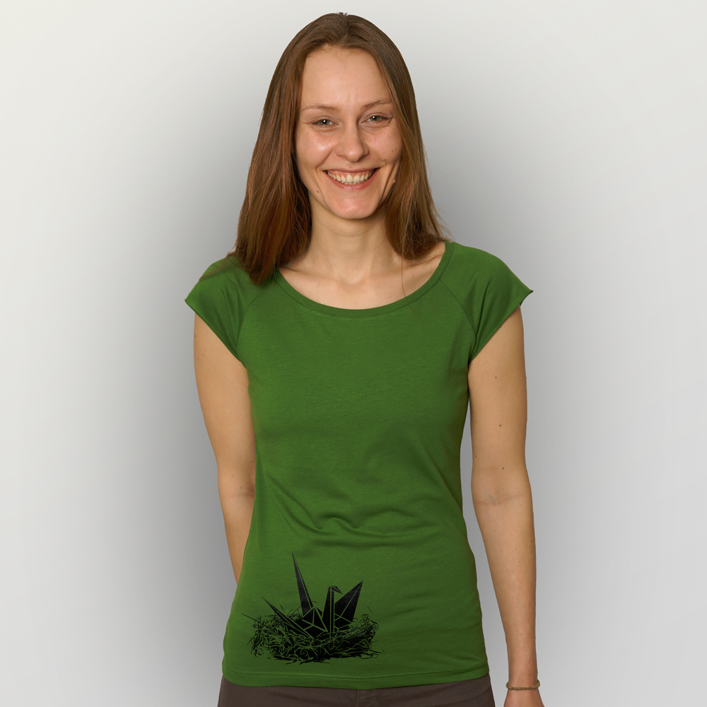 Frauen T-Shirt Origami Kranich