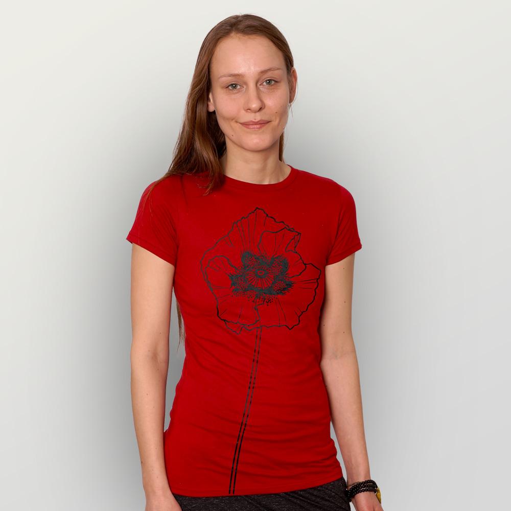 Frauen T-Shirt Mohnblume