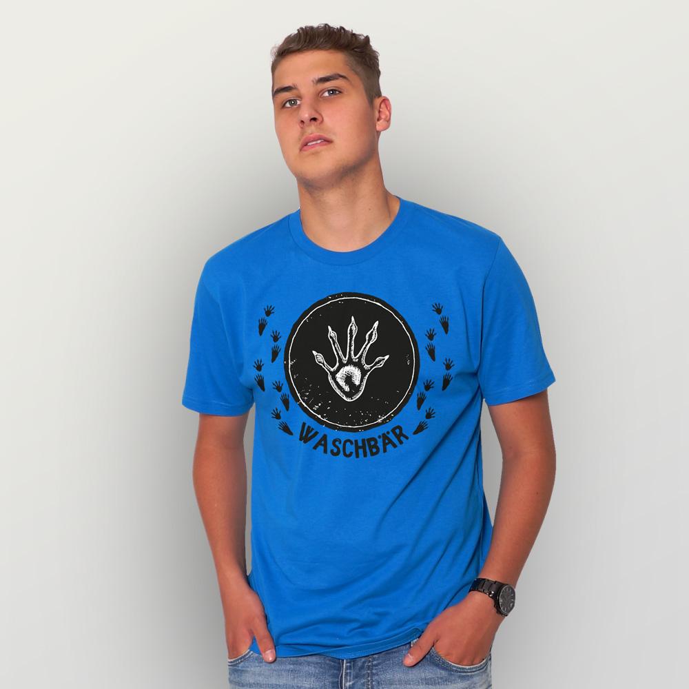 Männer T-Shirt Waschbär (Trittsiegel)