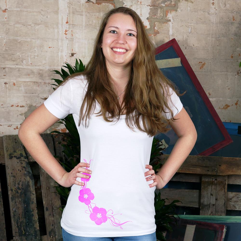 Frauen Scooped Neck T-Shirt Hibisken
